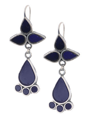 Blue Glass Silver Earrings