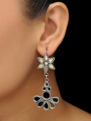 Grey Glass Silver Earrings with Floral Design