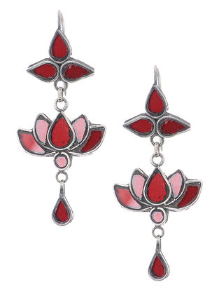 Red Glass Silver Earrings with Lotus Design
