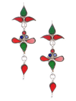 Multicolored Glass Silver Earrings