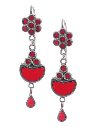 Red Glass Silver Earrings with Floral Design
