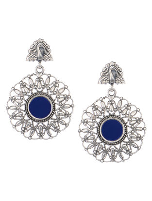 Blue Glass Silver Earrings with Peacock Design