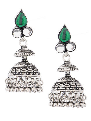 Green Glass Silver Jhumkis