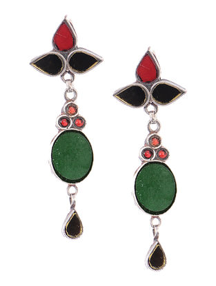 Red-Green Glass Silver Earrings