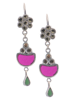 Yellow-Pink Glass Silver Earrings with Floral Design