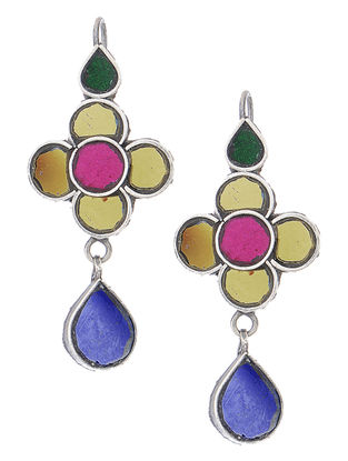 Multicolored Glass Silver Earrings with Floral Design