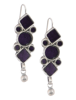 Purple Glass Silver Earrings