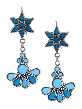 Blue Glass Silver Earrings with Floral Design