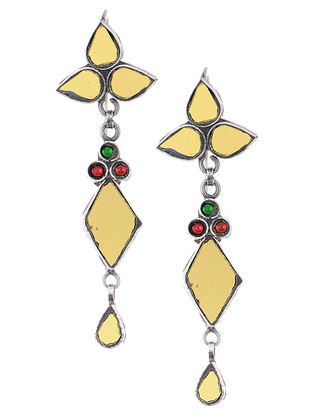 Yellow-Red Glass Silver Earrings