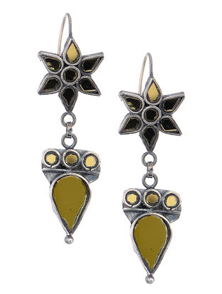 Yellow Glass Silver Earrings with Floral Design