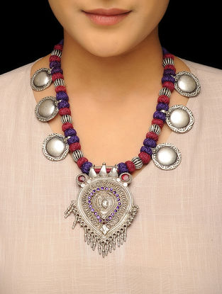 Red-Purple Thread Tribal Silver Necklace