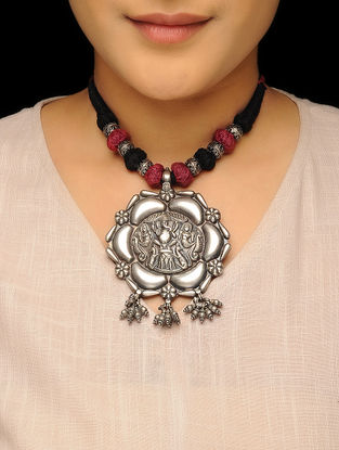 Black Thread Tribal Silver Necklace with Floral Design
