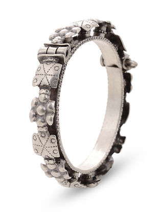 Tribal Hinged Opening Silver Bangle with Floral Design (Bangle Size -2/8)