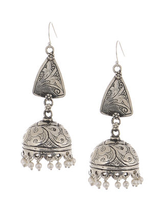 Classic Silver Jhumkis with Pearls