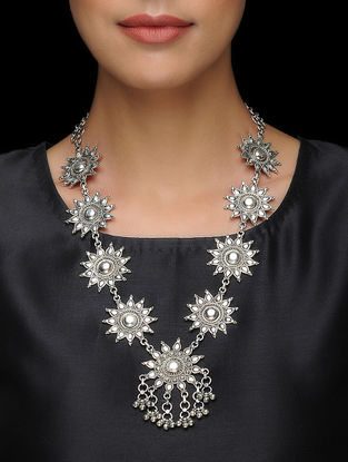 Tribal Silver Necklace with Floral Design