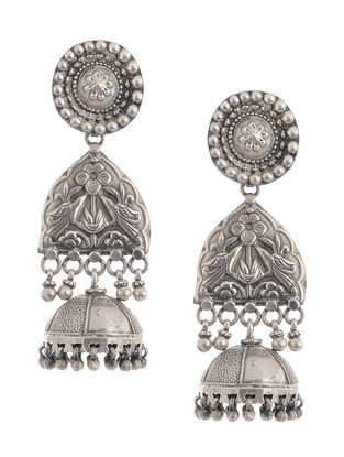 Tribal Silver Jhumkis with Floral Motif