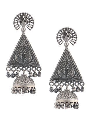 Tribal Silver Jhumkis with Peacock Design