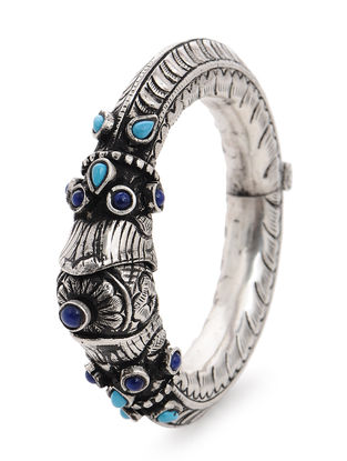 Blue-Red Tribal Silver Bangle (Bangle Size -2/4)
