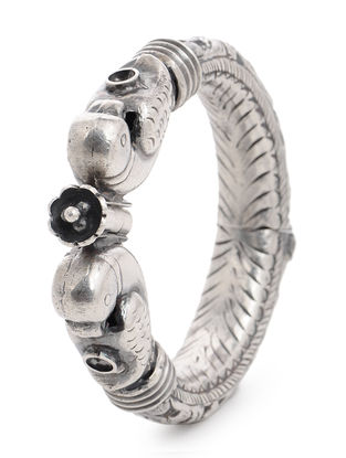 Hinged Opening Tribal Silver Bangle with Floral Motif (Bangle Size -2/6)