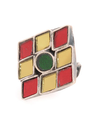 Red-Yellow Glass Adjustable Silver Ring