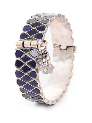 Blue Glass Hinged Opening Tribal Silver Bangle (Bangle Size -2/6)
