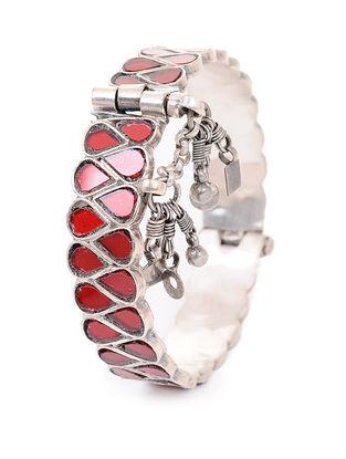 Red Glass Hinged Opening Tribal Silver Bangle (Bangle Size -2/6)