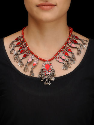 Red Glass Tribal Silver Thread Necklace