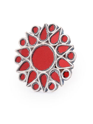 Red Glass Tribal Adjustable Silver Ring