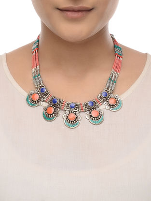Red-Turquoise Beaded Necklace