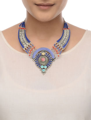 Blue-Red Beaded Necklace
