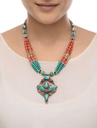 Orange-Turquoise Beaded Necklace