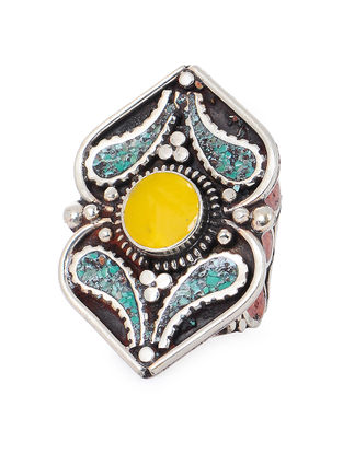 Turquoise-Yellow Adjustable Ring