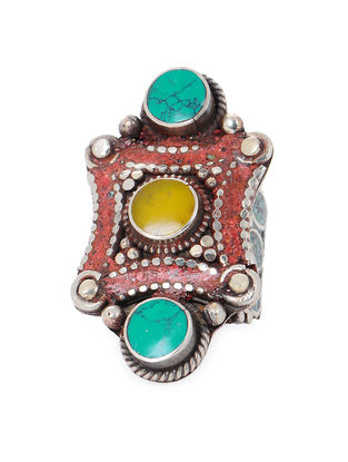Yellow-Turquoise Adjustable Ring