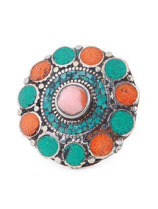 Orange-Turquoise Adjustable Ring