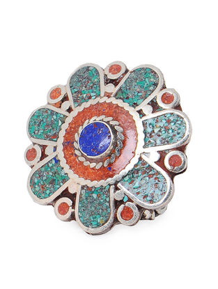 Turquoise-Red Adjustable Ring