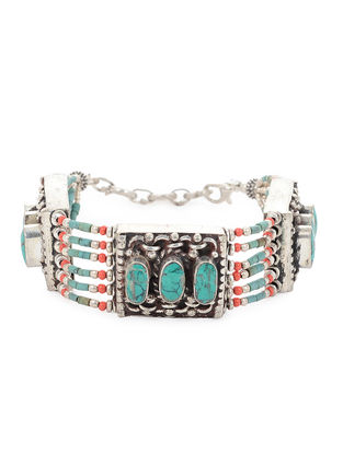 Orange-Turquoise Beaded Bracelet