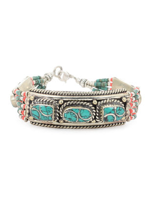Turquoise-Red Beaded Bracelet