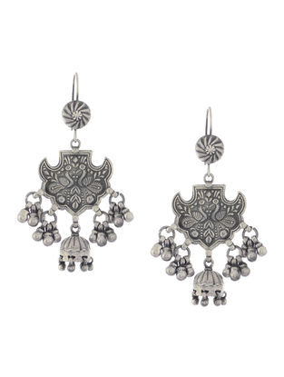 Tribal Silver Jhumkis with Bird Motif