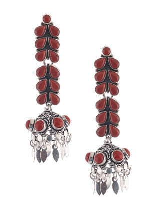 Red Silver Jhumkis