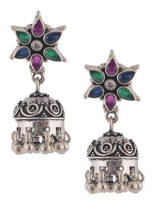 Multicolored Silver Jhumkis