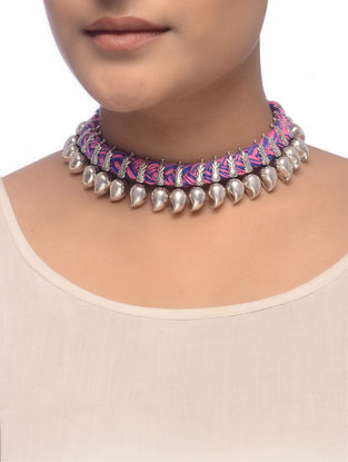 Pink-Blue Thread Tribal Silver Necklace with Paisley Design
