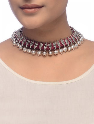 Maroon Thread Silver Necklace with Peacock Design