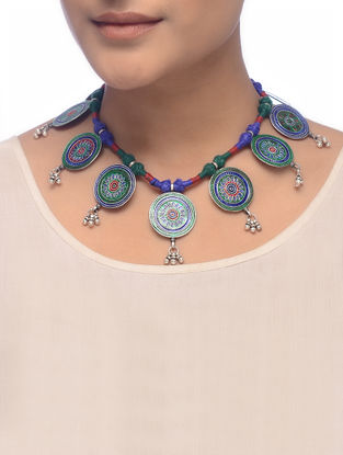 Green-Blue Enameled Silver Thread Necklace