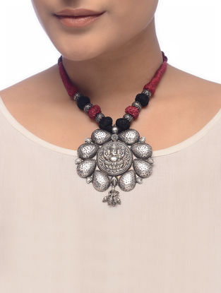 Maroon-Black Thread Tribal Silver Necklace with Lord Ganesha Motif