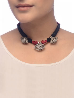 Maroon-Black Thread Tribal Silver Necklace