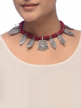 Maroon Thread Tribal Silver Necklace with Lord Ganesha Motif