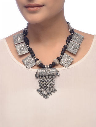 Black Thread Tribal Silver Necklace with Deity Motif
