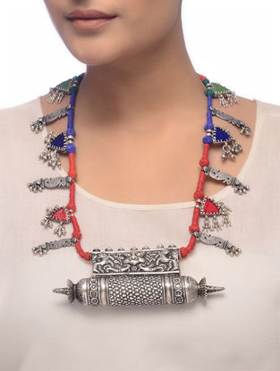 Red-Blue Thread Tribal Silver Necklace with Peacock Motif