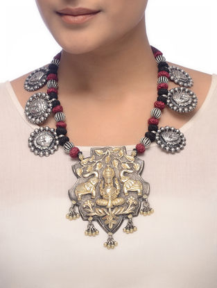 Maroon-Black Thread Tribal Silver Necklace with Deity Motif