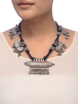 Black Thread Tribal Silver Necklace with Taveez Design